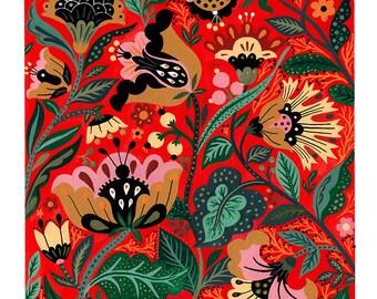 Red Flowers Motives Art Print