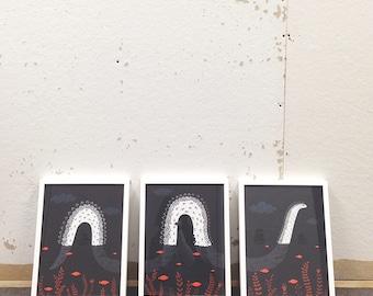 Gilcee Print, Lochness Wall Art Triptych