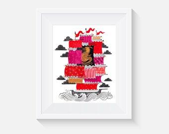 Giclee Print, Dragon Sailing Ship Art Print