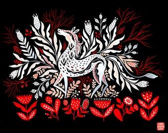 Impresión de folk arte de caballo