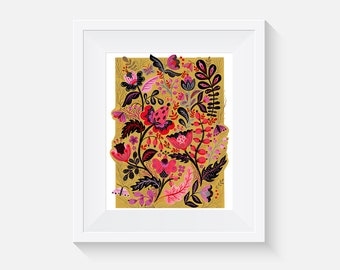 Giclee Print, Pink Flowers Motives Art Print
