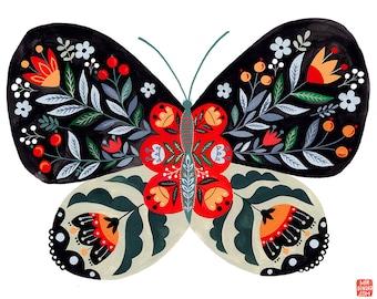 Folk Butterfly Art Print