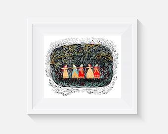 Giclee Print, Five Dancing Princesses Art Print