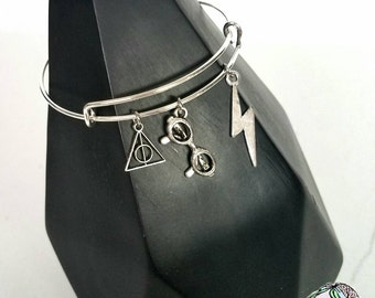 Harry Potter Inspired Charm Bracelet - boy wizard, hogwarts, wizard school, deathly hallows, glasses, book lover, literary jewelry