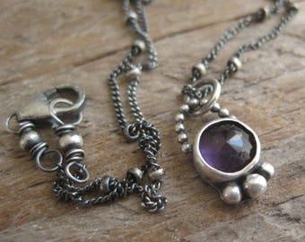 Boho Amethyst Necklace, Birthstone Necklace, Bohemian Necklace, February Birthstone, Purple Gemstone Necklace