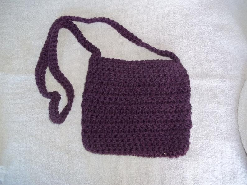 Handbag shoulder bag crochet bag acrylic yarn bag dark purple image 0