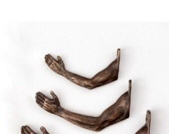 Arm Hook in Bronze  (medium - #341)- Individual wall hook