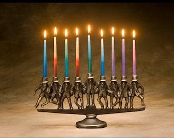 Dancing Rabbi Menorah - Item #823, 9 candle, in solid bronze