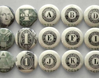 Money Buttons Made From Real US Currency