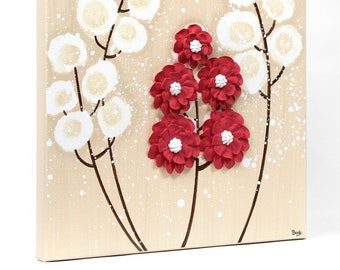 3D Flower Painting on Small Canvas, Original Art, Khaki, Red - 10x10
