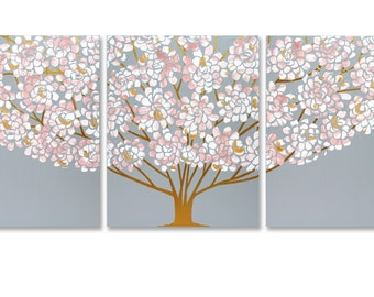 Large Floral Tree Painting, 3 Piece Original Art in Pink, Gray, Gold - 50x20