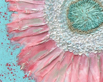 Heavy Textured Canvas Art, Flower Wall Art in Silver, Pink, and Aqua, Original Painting - 20X20 or 24X24