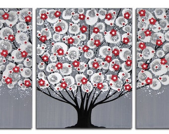 Large Wall Art on Canvas, Original Art Triptych, Tree Painting with Sculpted Flowers in Red, Gray, Black  - 50x20