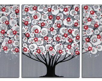 Extra Large Canvas Art, Tree Painting Wall Art Triptych with Sculpted Flowers in Gray, Red, Black - 62x24