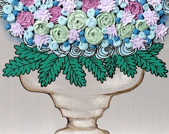 Still Life Painting on Canvas Wall Art of Sculpted Floral Bouquet, Green and Purple - Small 16x20