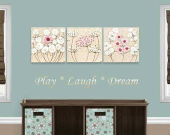 Girl's Bedroom Canvas Art with Sculpted 3D Flowers, Set of 3 Pink and Khaki Original Paintings - 32x10