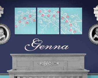 Baby Girl Nursery Wall Art Painting, Aqua Canvas Art Triptych, Large Flower Painting in Pink and Blue - 50x20
