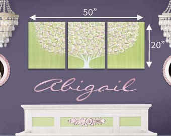Triptych Painting, Baby Girl Nursery Decor, Green and Pink Canvas Art on Large Triptych, Tree Wall Art with Sculpted Flowers - 50x20