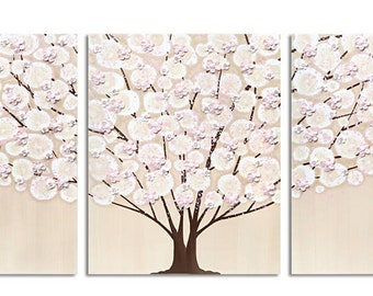 Textured Nursery Art for Girl, Tree Painting on Large Triptych Canvas with Sculpted Flowers, Pink and Brown - 50x20