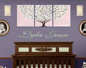 Pink and Purple Nursery Wall Art Painting on Canvas Triptych Tree with Sculpted Flowers in Pink, Purple, Green  - Large 50x20