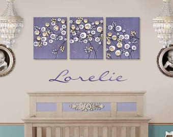 Purple Nursery Decor Wall Art, Large Canvas Art Painting, Flower Art Triptych in Violet and Khaki - 50x20