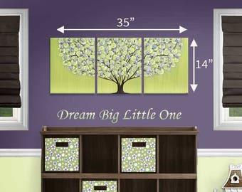Purple and Green Nursery Painting of Tree on Canvas Wall Art Triptych for Baby Girl - 35x14