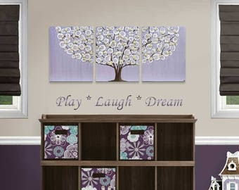 Lavender Nursery Canvas Art Painting for Baby Girl, Tree Painting with Sculpted Flowers on Triptych Wall Art in Purple and Brown - 35x14