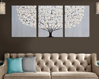 Extra Large Wall Art Paintings on Canvas Original Artwork Triptych Tree in Neutral Gray and Brown - 62x24