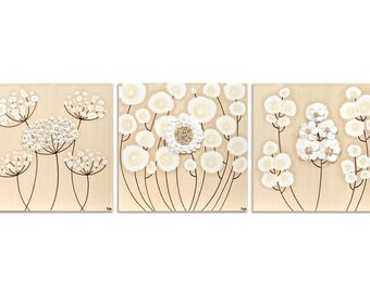 Set of 3 Wall Art Paintings on Canvas, Sculpted White Flowers, Original Artwork - 32X10