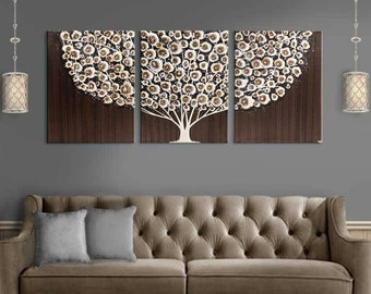 Canvas Art, Extra Large Wall Art Triptych, Tree Painting in Acrylic, Neutral Brown - 62x24