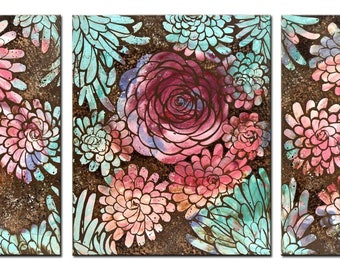 Boho Modern Art on 3 Canvases, Extra Large Flower Wall Art, Original Floral Painting - 62x24