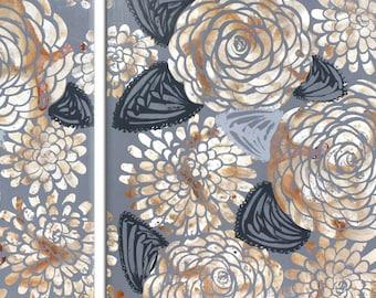 Set of 2 Large Canvas Wall Art, Original Artwork, Flower Paintings  - 49x36