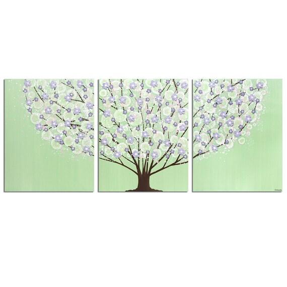 Peinture violet et vert pépinière darbre en fleurs sur toile | Etsy