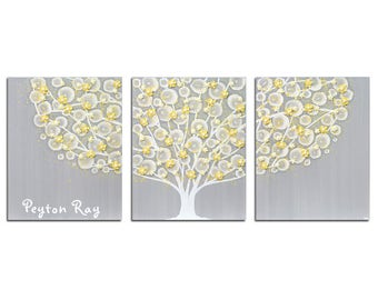 Yellow and Gray Canvas Wall Art with Custom Name Inscription, Nursery Tree Painting with Sculpted Flowers, Large Triptych - 50X20