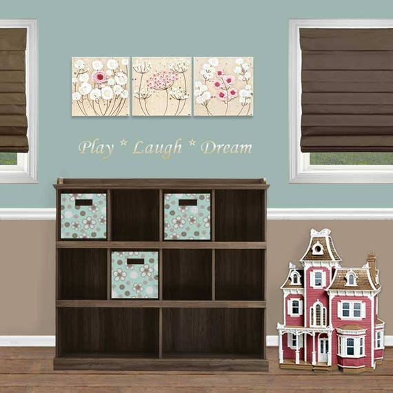 Girl's Bedroom Canvas Art With Sculpted 3D Flowers Set Of