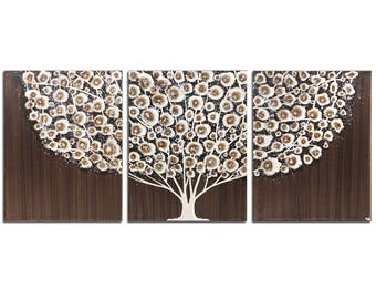 Three Piece Wall Art, Tree Wall Decor, Large Art Painting on Canvas, Brown and Gray- 50x20