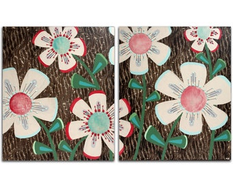 Large Painting of Flowers on 2 Canvases - Original Art - 41X24