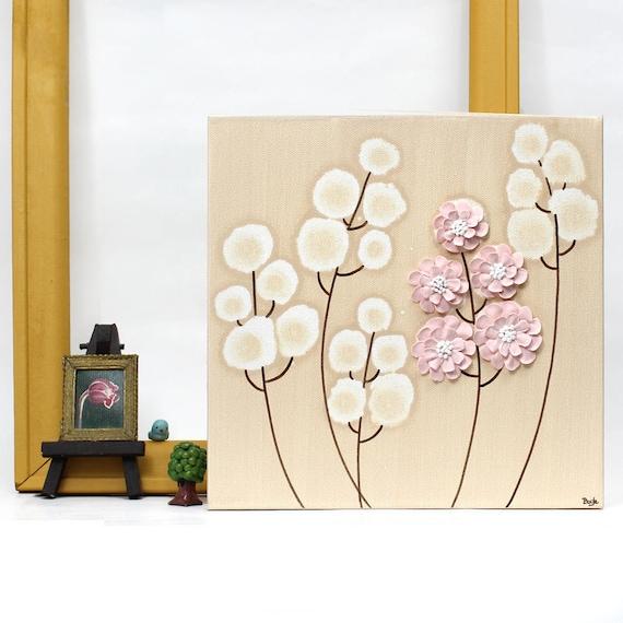 Bébé Fille Chambre D Enfant Art Décoration Murale Peinture En Rose Et Brun Texture Fleur Peinture Originale Toile Art Petite 10 X 10