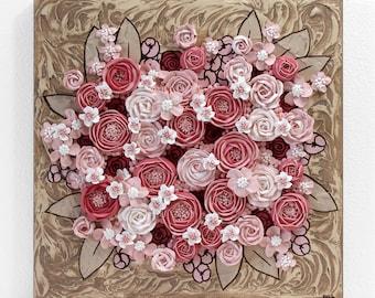 Sculpted Flower Painting, Small Canvas Art Original, Pink, Brown - 12x12