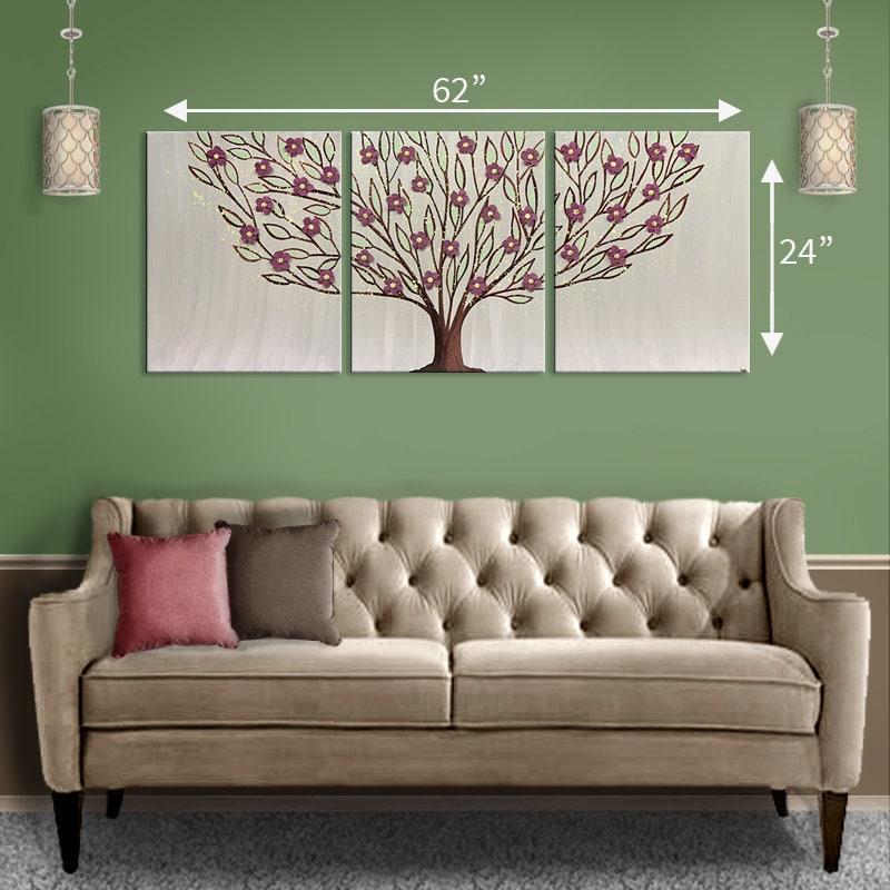 Tree Canvas Art 35x14 Brown Original 3 Piece Painting Wall Art in Green
