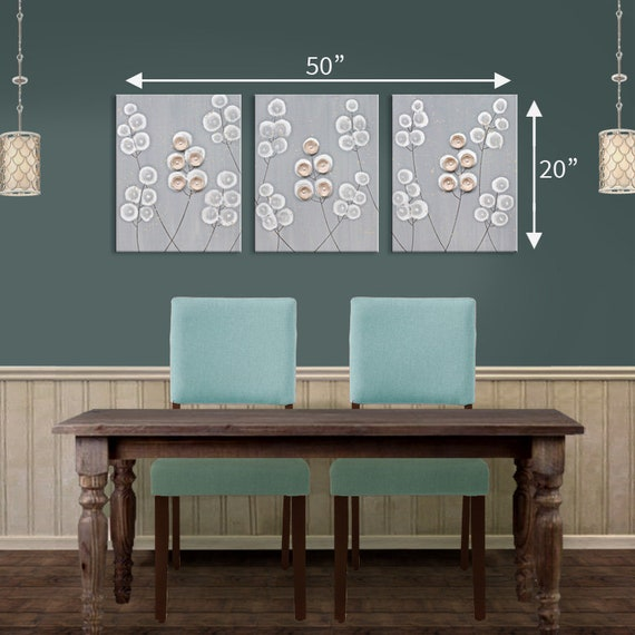 Dining Room Wall Art Large Acrylic Painting Of Flowers