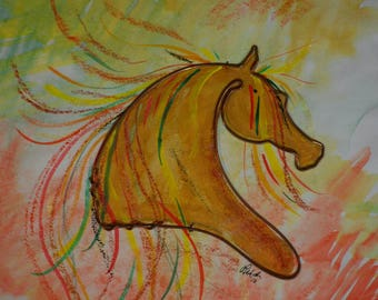 Yellow Mare - Watercolor and wire