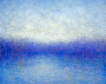 Abstract Landscape Painting  of California Fog Diffusion Blue by Victoria Veedell