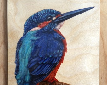 Kingfisher : Hand-Embellished Print on Wood