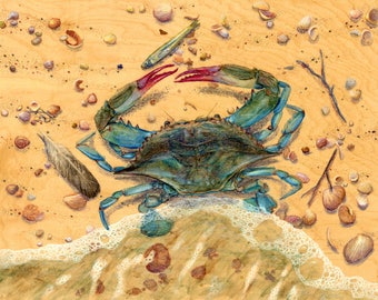 Blue Crab : Hand-Embellished Print on Wood