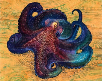 Coconut Octopus : Original Artwork on Wood