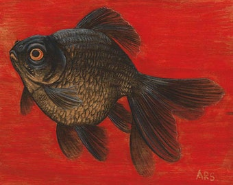 Goldfish : Colored Pencil Drawing on Wood, Original Art