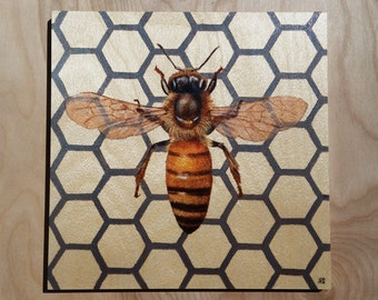 Honeybee : Hand-Embellished Print on Wood