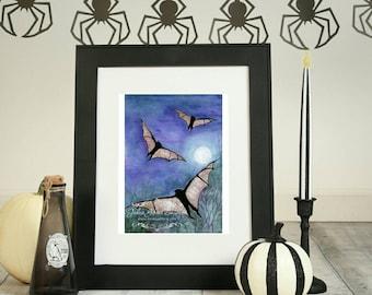 Black Bat Art -  Full Moon Art Print - Bats Painting - Bat Print -Flying Bats Print - Watercolor Bats Print - Halloween Art