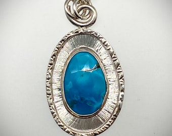 Sterling Faceted Turquoise Frame Necklace